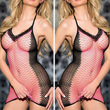 Black /pink Sexy Fishnet Hollow Lingerie Stripper Mini Dress Nightwear  6-10