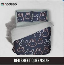 Hodeso Bedsheet Bunny Design Queen Size With FREE Two Pillow Cases (Dark Blue)