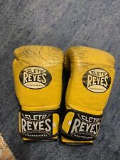 Cleto Reyes Hook and Loop Leather Training Boxing Gloves 12oz - Yellow - Used