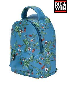NAJ-OLEARI Convertible Backpack Bag Saffiano PU Leather Floral Pattern Zipped