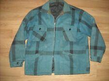 Vtg 50s Mens Large Blue Wool Shadow Plaid Stripe Hunting Work Jacket