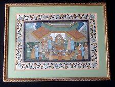 Ancienne grande peinture perse soir oriental Old persian painting silk 50cm
