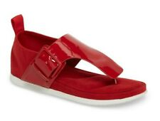 Calvin Klein Women's Dionay Flat Toe Strap Thong Sandals Crimson Red Size 11