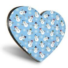 Heart MDF Coasters - Christmas Pattern Snowmen Snow  #12407