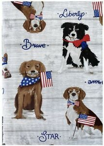 PATRIOTIC PUPPIES Vinyl Tablecloth DOGS 4th of July ASSORTED SIZES