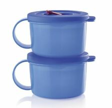 Tupperware New Crystal Wave Plus Soup Mugs Set of 2 Blue