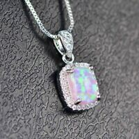 "2 Ct Cushion Pink Australian Opal Moissanite Halo Pendant Necklace 18"" Chain"