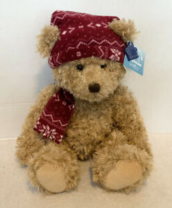 """Applause Brown Bear With Red Hat And Scarf 17"""" NWT"""