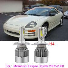 2x H4 Led Headlight Kit Bulb For Mitsubishi Eclipse Spyder 2002-2000 6000K White