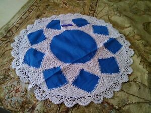"2 LINEN LACE CUSHION COVER 18"" WHITE and BLUE COLORED  ROUND HANDMADE"
