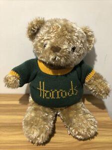 Harrods Teddy Bear in Green & Gold Harrods Knitted Jumper Large 44cm (36cm Sit)