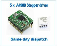 5x A4988 StepStick Stepper Motor Driver with self adhesive Heatsink Green PCB