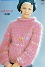 """JAEGER Knitting Pattn 5560-Ladies Mohair Roll Collar Sweater 32""""-38"""" Not a copy"""