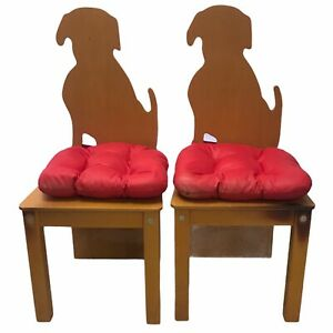 """Vintage Pair Wooden Kids Child's Dog Back Chairs Red IKEA Chair Pads 28"""" Tall"""