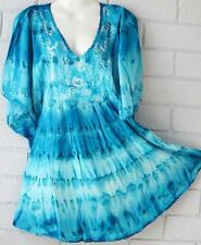 + SIZE HIPPY PEASANT  BLUE MIX TIE DYE TUNIC TOP CAFTAN 12 14 16 18 20 22