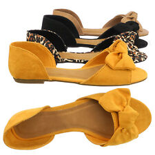 625b59a19d8 Leona77 Bow d Orsay Peep Toe Flats - Women Slip On Two Piece Sandal