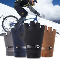 Fingerless Gloves Grip Gripper Mens Sport Half Finger Winter Warm Thermal Gloves