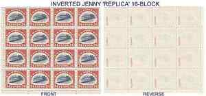 1918 INVERTED JENNY #C3a 16-BLOCK REPRODUCTION