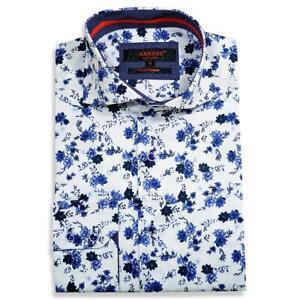 Axxess White / Blue Combo Floral Design Handpick Stitched Cotton Dress Shirt