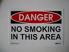 """6 Pack  8x12 Inch Flexible Plastic """" DANGER NO SMOKING IN THIS AREA """" Sign's"""