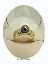 BEAUTIFUL 14 KARAT GOLD, 7 MM JAPANESE CULTURED BLACK PEARL RING, MELEES ACCENT