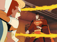 Superman Animated Series Original Cel/OBG-Volcana+Superman-Where There's Smoke