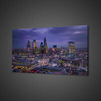 CITY OF LONDON CANARY WHARF CANVAS PICTURE PRINT WALL ART HOME DECOR