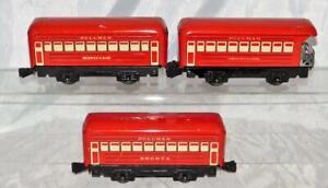 "Marx Red tinplate Passenger Set Red Montclair Bogota Observation 3 cars 6"""