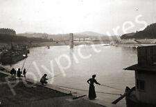 Lyon Saône Passerelle Masaryck pêcheurs Repro tirage photo ancienne déb. XXe s.