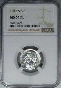 1942-S 5C NGC MS64PL PROOFLIKE JEFFERSON WAR NICKEL ~ DEEP MIRRORS & HIGH-END!
