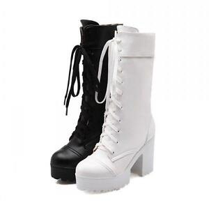 Stylish Lace Up Womens Chunky High Heel Platform Combat Mid Calf Boots Size HY8