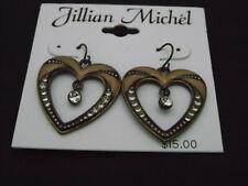 Diamond Earrings, Fish Hook Jullian Michael Heart and Faux