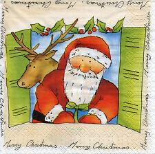 4 Motivservietten Servietten Napkins Tovaglioli Weihnachten Weihnachtsmann (963)