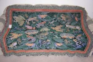 New Frog Afghan Throw Blanket Leapfrog Toad Frogs Green
