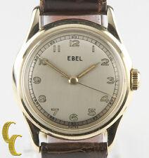 14k Oro Amarillo Vintage Ebel Correa Manual Reloj Marrón Cuero Esfera Redonda