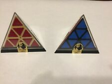 2 Vintage 1981 Tomy Pyraminx Pyramid Triangle - Rubik's Cube Toy Puzzle