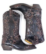 BED STU RUBIC Black Rustic Rust LEATHER COWBOY BOOTS WESTERN SIZE US 7.5