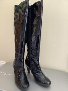 Nannini  Vintage Style Size 6 Italian Black Patent Leather Boots