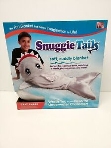 SNUGGIE TAILS - Gray Shark Super-Soft Velveteen Blanket (Cozy Gift As Seen On TV
