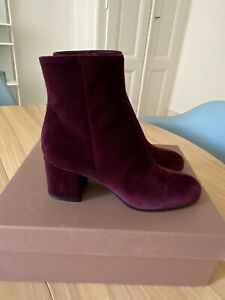 Gianvito Rossi velvet boots Prune size 37 Burgundy