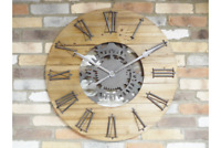 Extra Large Clock Industrial Wooden Wall Hanging Mechanical Cog Roman Numerals