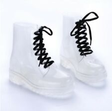 Cute Women Transparent Flat Rubber Clear Rain Boots Lace Low Ankle Boots US 8