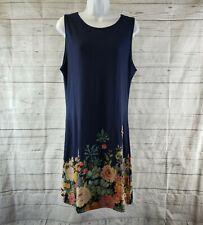 Desigual Womens Emanual Dress Sz XL Blue Pink Floral Sleeveless