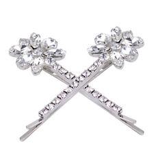 2x Rhinestone Diamante Flower Crystal Hair Grip Barrette Clips Bridal Wedding mn