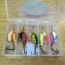 5 Spinners in pocket lure box Ideal For Perch Salmon Pike trout Fishing #5