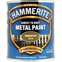 NEW HAMMERITE DIRECT TO RUST METAL PAINT SMOOTH GOLD 750ML 5092830 BEST QUALITY