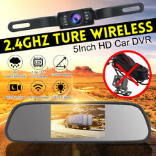 Car Rear View 5'' LCD Monitor/Mirror Wireless Backup Camera Parking Reverse Kit