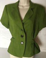 Studio I Short Sleeve Career Blazer Suit Jacket 14 Green St Patricks Day