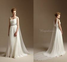 Grecian Long Chiffon Summer Wedding Dress Beach Bridal Gowns with Watteau Train