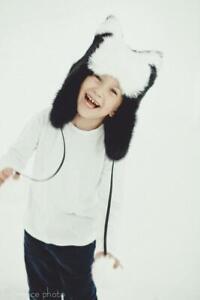 Toddler Fur Hat Kids Fur Aviator Hats Baby Girl/Boy Winter Hat (Black and White)